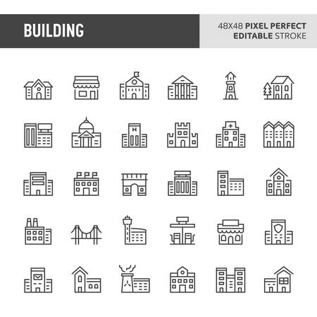 30 thin line icons associated with building (structure) and architectural with symbols such as residential, commercial, public and private buildings are included in this set. 48x48 pixel perfect vector icon with editable stroke. Illustration