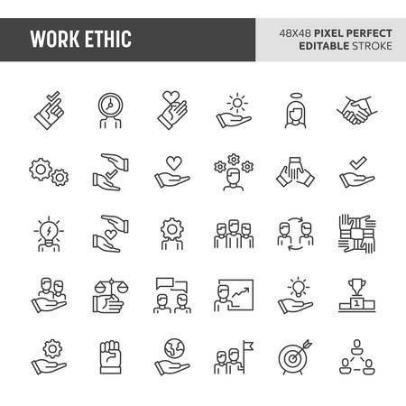 30 thin line icons associated with employment and work ethic with symbols such as teamwork, morality, proficiency, optimism and empathy are included in this set. 48x48 pixel perfect vector icon with editable stroke.