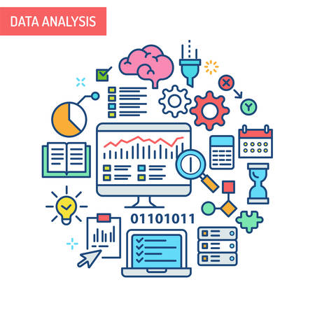 Data analysis related illustration. Research, information, analytic, report and strategy. Illustration