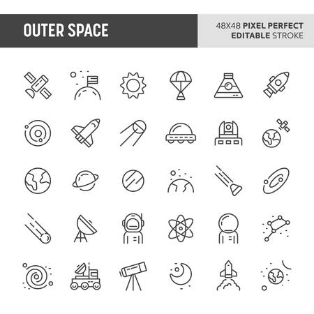 30 thin line icons associated with outer space with symbols