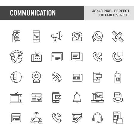 30 thin line icons associated with communication with symbols