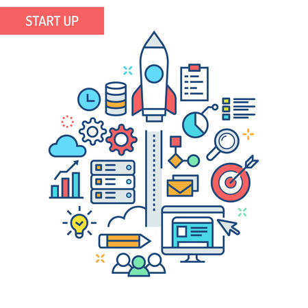 Start up related illustration. A space rocket launched over colorful info graphic elements. Illustration