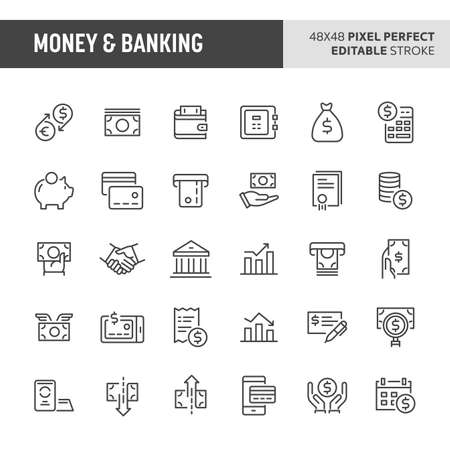 30 thin line icons associated with money and banking with symbols Illustration
