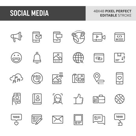 30 thin line icons associated with social media with symbols