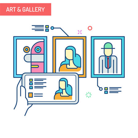 The concept of augmented reality in art and gallery with mobile phones collects information from art painting.