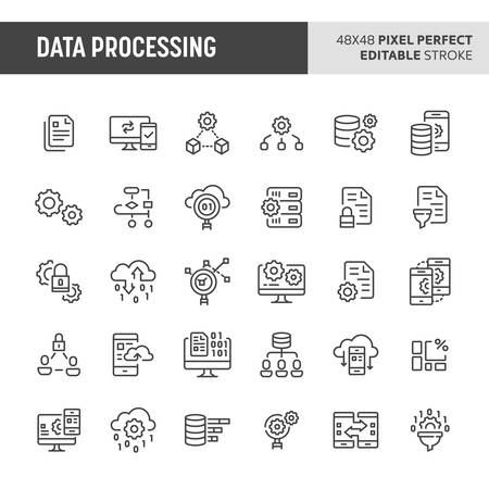 30 thin line icons associated with data processing with symbols