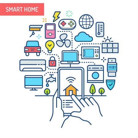 Smart Home (IoT) conceptual illustration. Electronic devices connected and controlled from mobile device.
