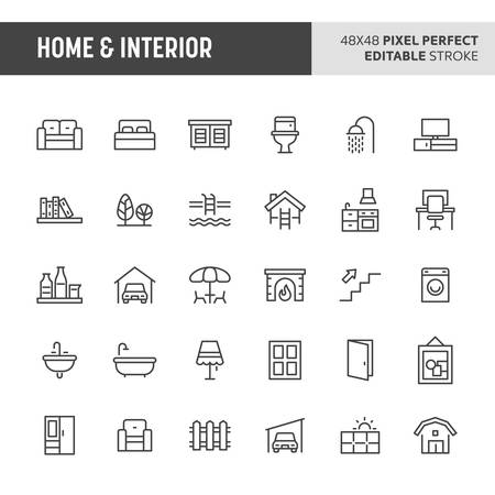 30 thin line icons associated with home & interior. Symbols such as home furniture, types of room and home appliances are included in this set. 48x48 pixel perfect vector icon & editable vector. Illustration