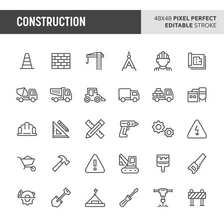 30 thin line icons associated with construction. Symbols such as crane, working tools, transportation and construction sign are included in this set. 48x48 pixel perfect vector icon & editable vector. Illustration