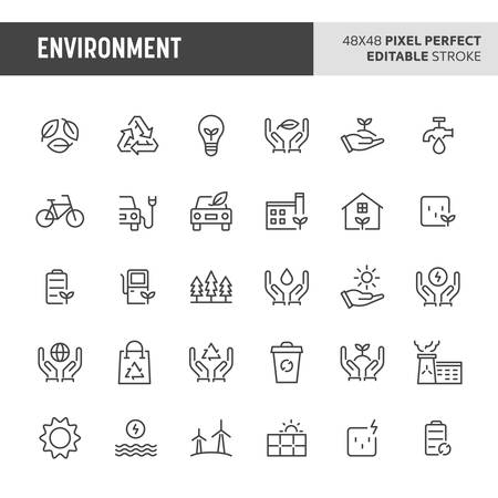 30 thin line icons associated with environment. Symbols such as green & eco-friendly symbol are included in this set. 48x48 pixel perfect vector icon & editable vector.