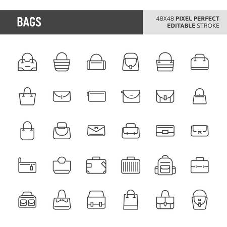 30 thin line icons associated with bags. Symbols such as fashion, office and traveller bag are included in this set. 48x48 pixel perfect vector icon & editable vector.. Illustration