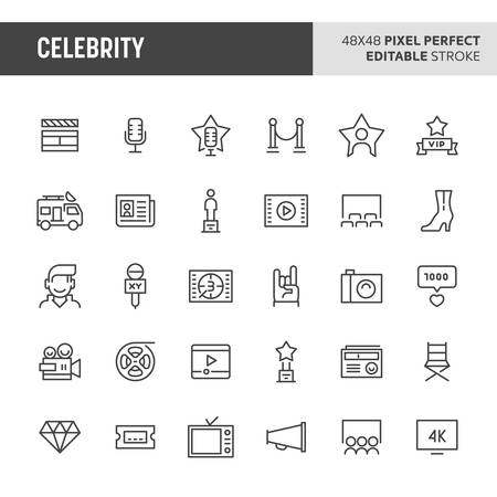 30 thin line icons associated with celebrity. Symbols such as awards, superstars and movie equipments  are included in this set. 48x48 pixel perfect vector icon & editable vector.