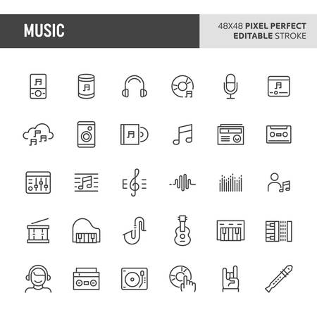 30 thin line icons associated with music & instrument. Symbols such as music instrument, audio equipment and audio device are included in this set. 48x48 pixel perfect vector icon & editable vector.