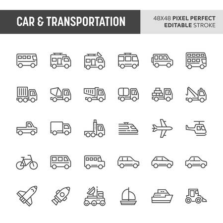 30 thin line icons associated with car & transportation. Symbols such as bus, truck, van and other light and heavy vehicle are included in this set. 48x48 pixel perfect vector icon & editable vector. Illustration