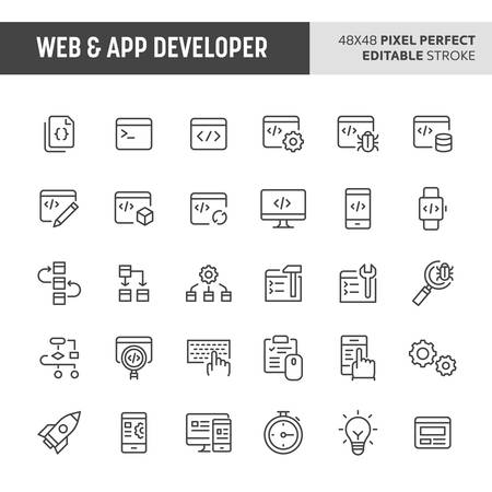 30 thin line icons associated with web & app developer. Symbols such as code editor, IDE,  and other programming related items are included in this set. 48x48 pixel perfect vector icon & editable vector.