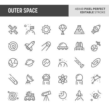 30 dünne Liniensymbole, die mit dem Weltraum verbunden sind. Symbole wie Planeten, Galaxie, Sonnensystem und Raumtransport sind in diesem Set enthalten. 48x48 Pixel perfektes Vektorsymbol mit bearbeitbarem Strich. Vektorgrafik