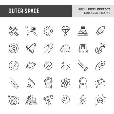 30 thin line icons associated with outer space. Symbols such as planets, galaxy, solar system & space transportation are included in this set. 48x48 pixel perfect vector icon with editable stroke.