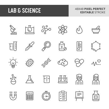 30 iconos de líneas finas asociados con el laboratorio y la ciencia. En este conjunto se incluyen símbolos como equipos de laboratorio, investigación y experimentos. Icono de vector perfecto de 48 x 48 píxeles con trazo editable. Ilustración de vector