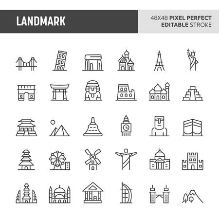 30 thin line icons associated with worlds famous landmark. Symbols such as historical discovery, modern building & wonders are included in set. 48x48 pixel perfect vector icon, editable stroke.