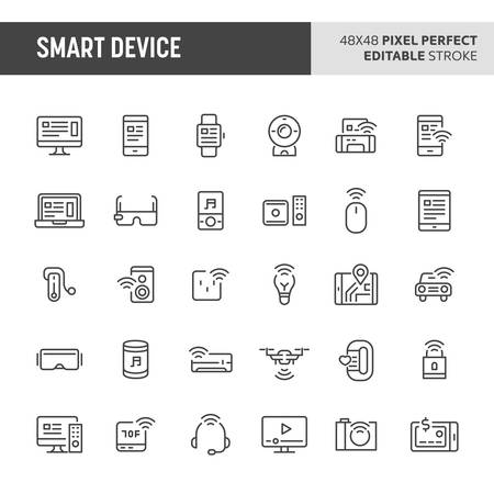 30 ikon cienkich linii związanych z urządzeniami inteligentnymi. W tym zestawie znajdują się symbole, takie jak urządzenie do noszenia, sprzęt AGD, komputer i elektronika. 48x48 pikseli idealna ikona wektorowa z edytowalnym obrysem.