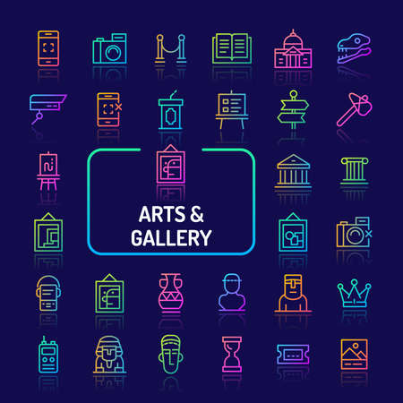 Simple gradient color icons isolated over dark background related to arts gallery and historical museum. Vector signs and symbols collections for website and app..