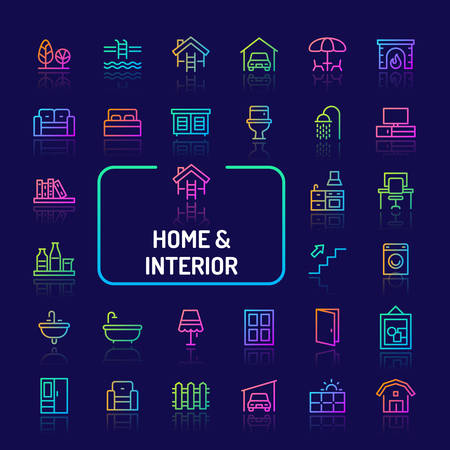 Simple gradient color icons isolated over dark background related to home, living, interiors & furnitures. Vector signs and symbols collections for website and app.. Illustration