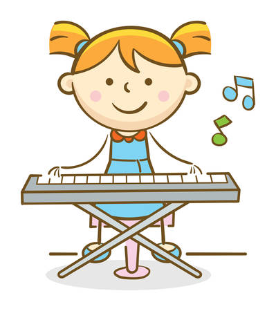 Doodle illustration: Kid playing a Keyboard