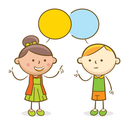 Doodle illustration: Kids talking to each other in a speech bubble