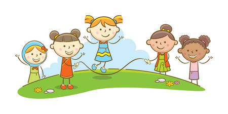 Doodle illustration: Kids playing jump rope Illustration