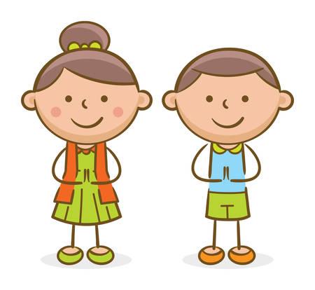 Illustration de griffonnage : enfants hispaniques faisant un geste de salutation et souriant