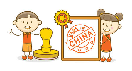 Doodle illustration: Kids holding and stamping a paper with Made In China stamp
