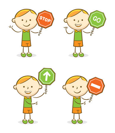 Doodle illustration: Set of kids with sot and go traffic signs 向量圖像