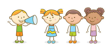 Doodle illustration: Boy shouting in a megaphone to another kids