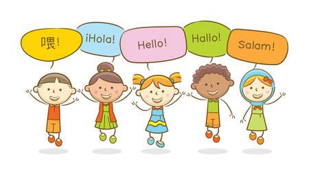 Illustration de Doodle : Enfants multiculturels disant bonjour dans différentes langues Vecteurs