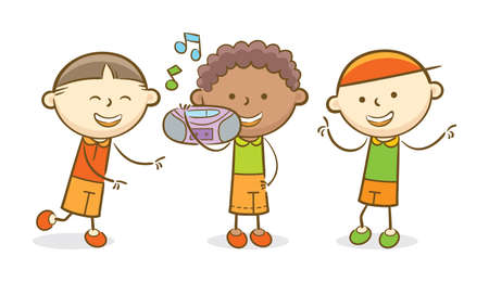 Doodle illustration: Boy holding a boombox while the other kids dancing