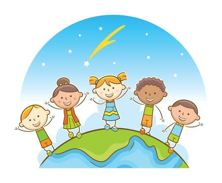 Doodle illustration: Multicultural kids walking on a globe Ilustrace