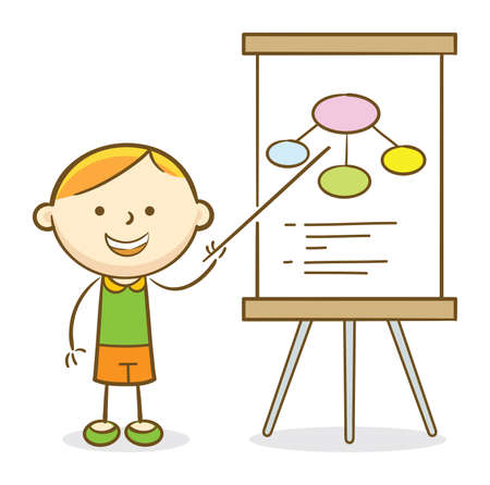 Doodle illustration: Boy presenting his project on a flipchart