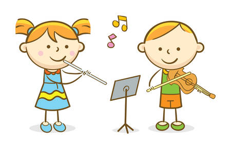 Doodle illustration: Kids playing flute and violin
