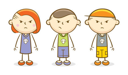 Doodle illustration: bad kids standing and looking with anger