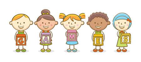 Doodle illustration: Alphabet block spelling Games