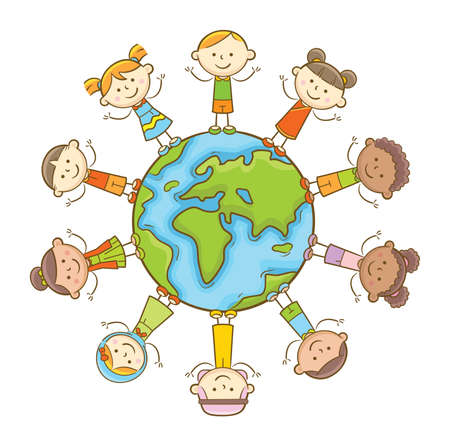 Doodle illustration: Multicultural kids standing around the globe