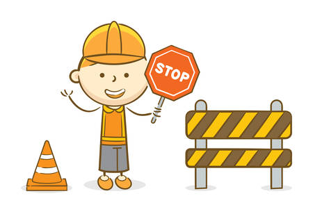 Doodle illustration: Boy holding a red stop traffic sign on under construction scene