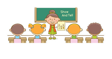 Ilustración de Doodle: niña frente a una clase mostrando su dibujo de su familia