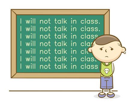 Ilustración de Doodle: niño castigado por escribir líneas en la pizarra por hablar en una clase