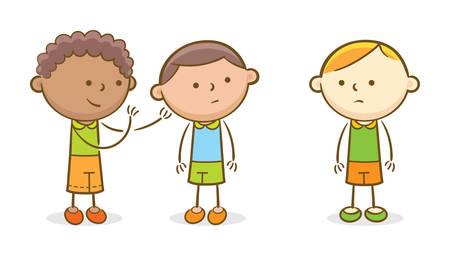 Illustrazione di scarabocchio: bambini che spettegolano su un altro bambino