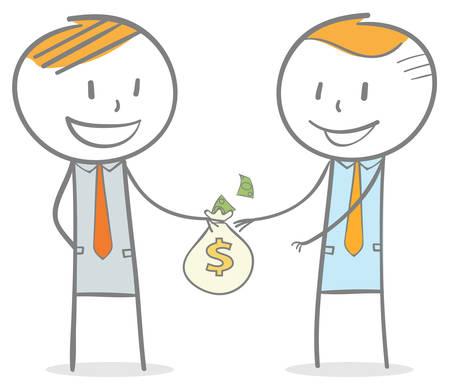 Figura de palo Doodle: un hombre de negocios dando una bolsa de dinero a su colega
