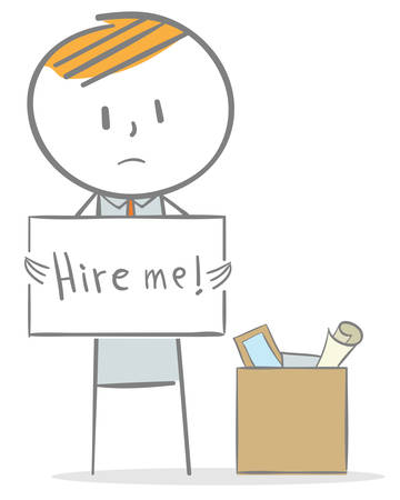 Doodle stick figure: A businessman is looking for a job after being fired Ilustrace