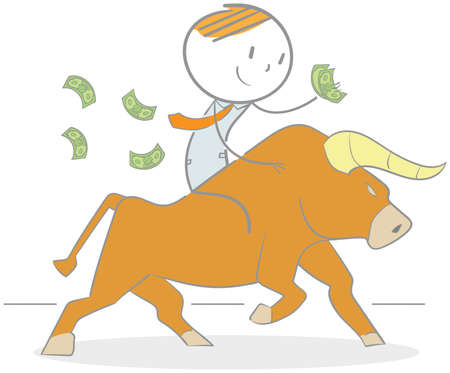 Doodle illustration of a businessman holding money riding a bull