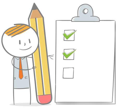 Doodle stick figure: Biznesmen ze schowkiem z listą kontrolną