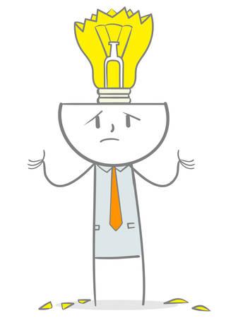 Doodle stick figure with a broken lightbulb, lack of idea concept